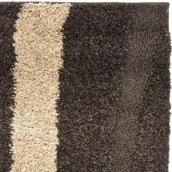 Safavieh Willow Contemporary Dark Brown/ Beige Shag Rug (2'3 x 7') - Thumbnail 2