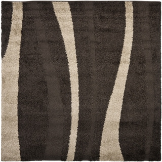 Safavieh Willow Contemporary Dark Brown/ Beige Shag Rug (6'7 Square)