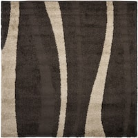 "Safavieh Willow Contemporary Dark Brown/ Beige Shag Rug - 6'7"" x 6'7"" square"
