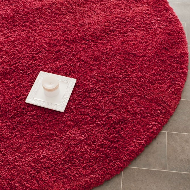 safavieh california cozy solid red shag rug '  round  free, red round rugs cheap, round red rug australia, round red rug next