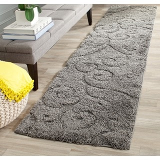 Safavieh Florida Shag Scrollwork Dark Grey Runner (2'3 x 7')