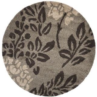 Safavieh Ultimate Shag Smoke/ Dark Brown Floral Area Rug (6' 7 Round)