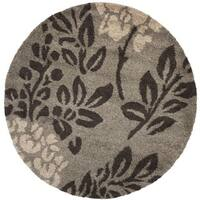 "Safavieh Ultimate Shag Smoke/ Dark Brown Floral Area Rug - 6'7"" x 6'7"" round"