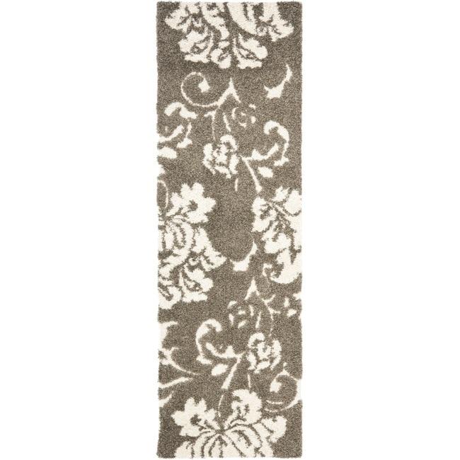 Safavieh Florida Shag Smoke/ Beige Floral Runner (2'3 x 7')