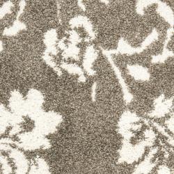 Safavieh Florida Shag Smoke/ Beige Floral Runner (2'3 x 7') - Thumbnail 2