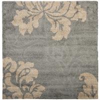 "Safavieh Florida Shag Dark Grey/ Beige Floral Square Rug - 6'7"" x 6'7"" square"