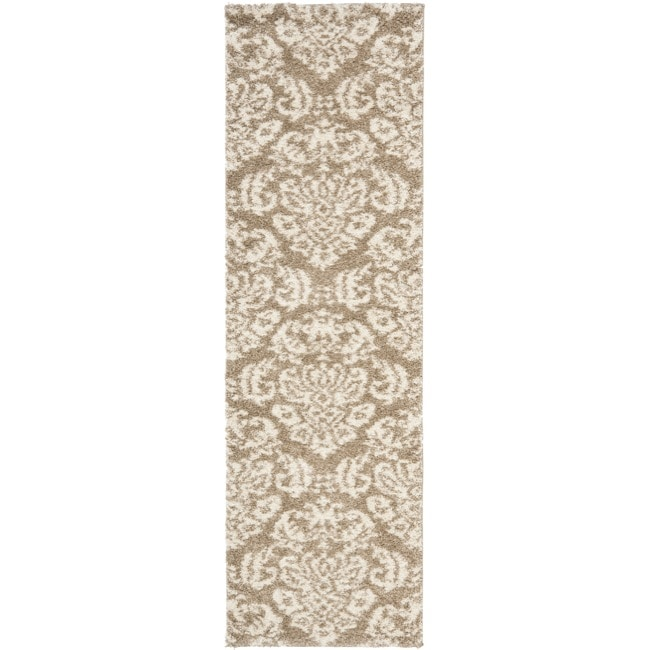 "Safavieh Florida Shag Beige/ Cream Damask Runner (2'3"" x 7')"