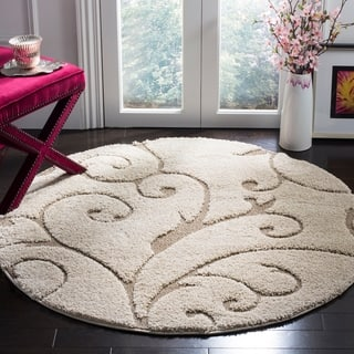 Safavieh Florida Shag Scrollwork Elegance Cream/ Beige Rug (6' 7 Round)|https://ak1.ostkcdn.com/images/products/6372247/P13988385.jpg?impolicy=medium