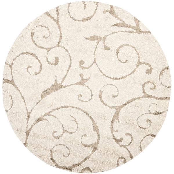 Safavieh Florida Shag Scrollwork Cream/ Beige Rug (6' 7 Round)