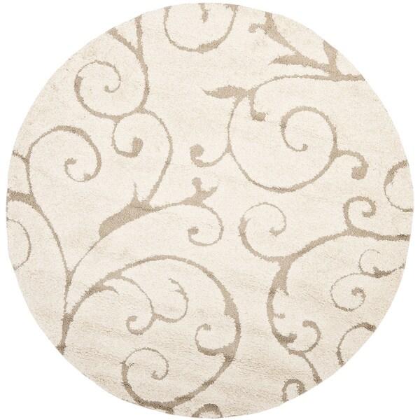 Safavieh Florida Shag Scrollwork Elegance Cream/ Beige Rug (6' 7 Round)