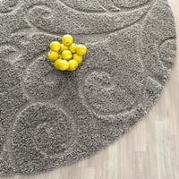 "Safavieh Florida Shag Scrollwork Elegance Dark Grey Area Rug - 6'7"" x 6'7"" round"