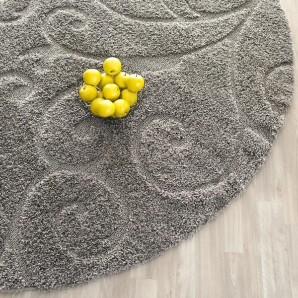 Safavieh Florida Shag Scrollwork Elegance Dark Grey Area Rug (6' 7 Round)