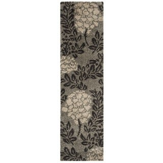 Safavieh Ultimate Shag Smoke/ Dark Brown Floral Runner (2'3 x 7')