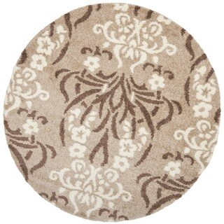 "Safavieh Florida Shag Beige/ Cream Damask Area Rug (6' 7"" Round)"