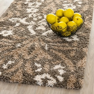 Safavieh Florida Shag Smoke/ Beige Damask Runner (2'3 x 7')