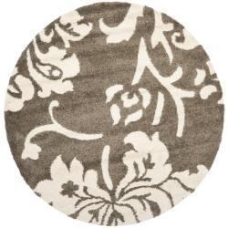 Safavieh Florida Shag Smoke/ Beige Floral Round Rug (6' 7 Round)