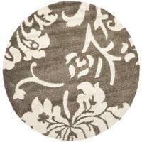 """Safavieh Florida Shag Smoke/ Beige Floral Round Rug - 6'7"""" x 6'7"""" round"""