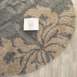 Safavieh Florida Shag Dark Grey/ Beige Floral Round Rug (6' 7 Round) - Thumbnail 1