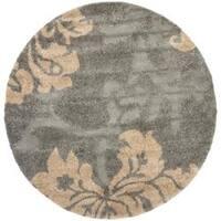 """Safavieh Florida Shag Dark Grey/ Beige Floral Round Rug - 6'7"""" x 6'7"""" round"""