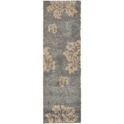 Safavieh Florida Shag Dark Grey/ Beige Floral Runner (2'3 x 7')
