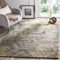 Safavieh Florida Shag Dark Grey/ Beige Floral Area Rug (3'3 x 5'3)