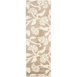 Safavieh Florida Shag Beige/ Cream Floral Runner (2'3 x 7')