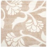 """Safavieh Florida Shag Beige/ Cream Floral Square Rug - 6'7"""" x 6'7"""" square"""