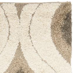 Safavieh Florida Shag Cream/ Smoke Geometric Ogee Runner (2'3 x 7')