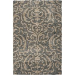 Safavieh Florida Shag Ornate Grey/ Beige Damask Area Rug (3'3 x 5'3)