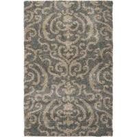 Safavieh Florida Shag Ornate Grey/ Beige Damask Area Rug - 3'3 x 5'3