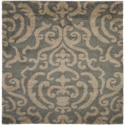 Safavieh Florida Shag Ornate Grey/ Beige Damask Square Rug (6'7 Square)