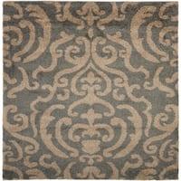 "Safavieh Florida Shag Ornate Grey/ Beige Damask Square Rug - 6'7"" x 6'7"" square"