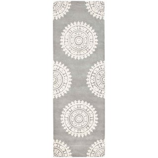 Safavieh Handmade Soho Chrono Grey/ Ivory New Zealand Wool Rug (2'6 x 12')