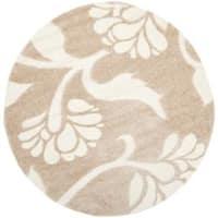 Safavieh Florida Shag Beige/ Cream Floral Round Rug (6' 7 Round)