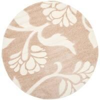"""Safavieh Florida Shag Beige/ Cream Floral Round Rug - 6'7"""" x 6'7"""" round"""