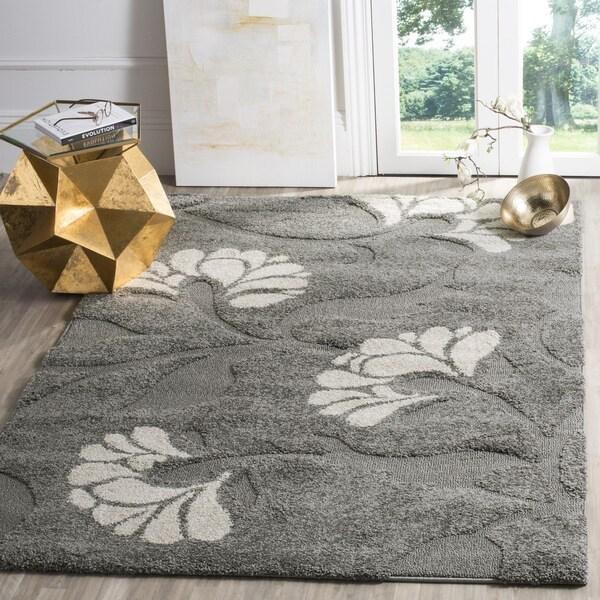 Safavieh Florida Shag Dark Grey/Beige Floral Area Rug (3'3 x 5'3)