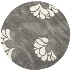 Safavieh Florida Shag Dark Grey/Beige Floral Round Rug (6' 7 Round)