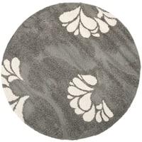 """Safavieh Florida Shag Dark Grey/Beige Floral Round Rug - 6'7"""" x 6'7"""" round"""