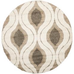 Safavieh Florida Shag Cream/ Smoke Geometric Ogee Round Rug (6' 7 Round)