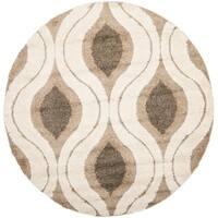 "Safavieh Florida Shag Cream/ Smoke Geometric Ogee Round Rug - 6'7"" x 6'7"" round"