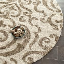 Safavieh Florida Ornate Cream/ Beige Shag Rug (6'7 Round)