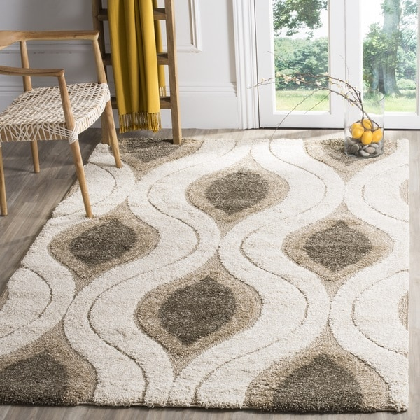 Ordinaire Safavieh Florida Shag Cream/ Smoke Geometric Ogee Square Rug   6u0026#x27;7