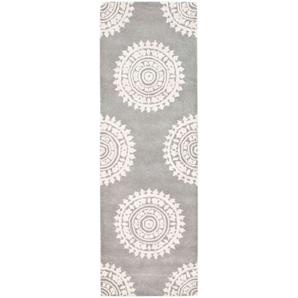 Safavieh Handmade Soho Chrono Grey/ Ivory New Zealand Wool Rug (2'6 x 6')