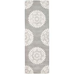 Safavieh Handmade Soho Chrono Grey/ Ivory New Zealand Wool Rug (2'6 x 6')