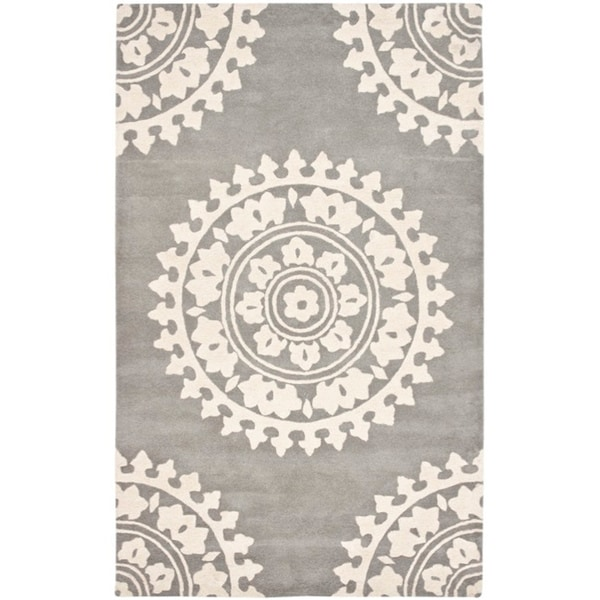 "Safavieh Handmade Soho Chrono Grey/ Ivory N. Z. Wool Rug - 9'6"" x 13'6"""