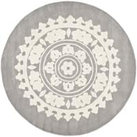 Safavieh Handmade Soho Chrono Grey/ Ivory New Zealand Wool Rug - 8' x 8' Round