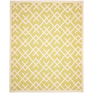 Safavieh Hand-woven Moroccan Reversible Dhurrie Light Green/ Ivory Wool Rug (10' x 14')