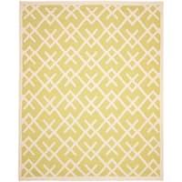 Safavieh Hand-woven Moroccan Reversible Dhurrie Light Green/ Ivory Wool Rug (10' x 14')