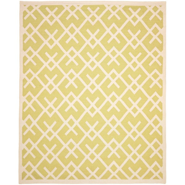 Safavieh Hand-woven Moroccan Reversible Dhurrie Light Green/ Ivory Wool Rug - 10' x 14'