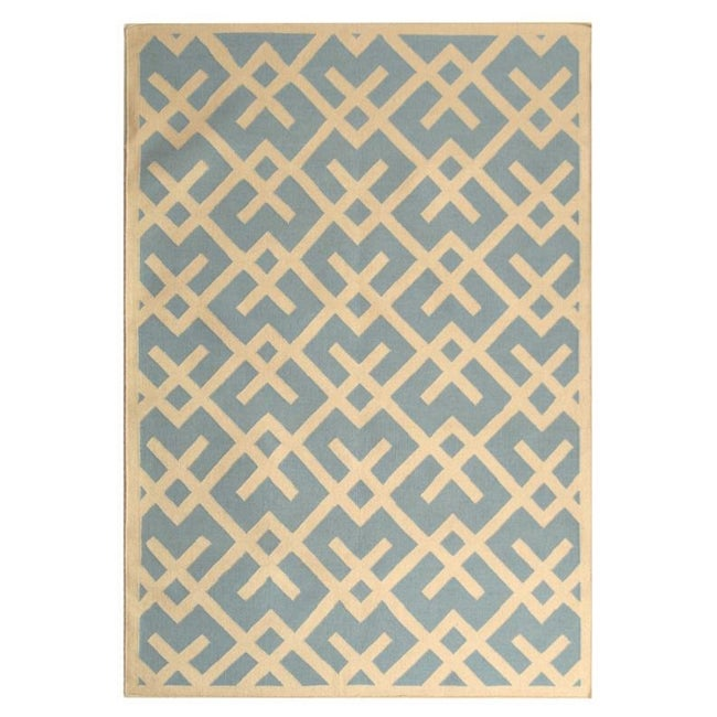Safavieh Handwoven Moroccan Reversible Dhurrie Crisscross-pattern Light Blue/ Ivory Wool Rug (9' x 1